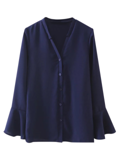 V Neck Flare Sleeve Shirt - Deep Blue S