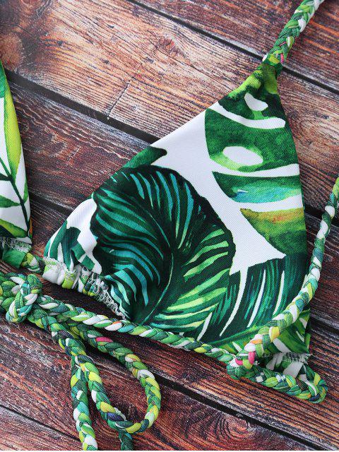 outfit Tropical Print Plunge Bikini - GREEN S Mobile