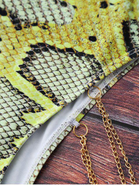 Maillot de bain à empreintes de python agrémenté de chaînes métalliques - Multicolore S Mobile
