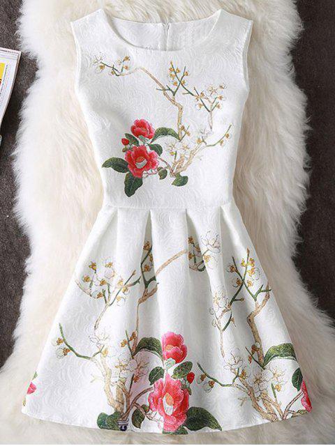 Blumen Druck Ärmelloses Kurzes Rock Kleid - Weiß XL  Mobile