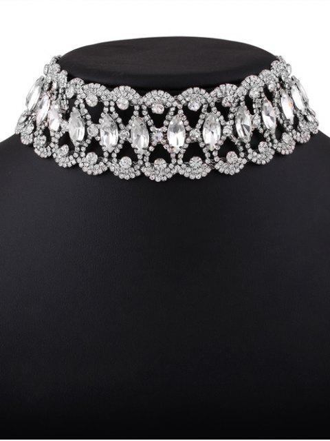 women's Faux Diamond Choker Necklace - SILVER  Mobile