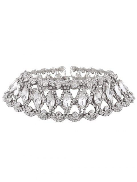 Faux Diamant Choker Halskette - silber  Mobile