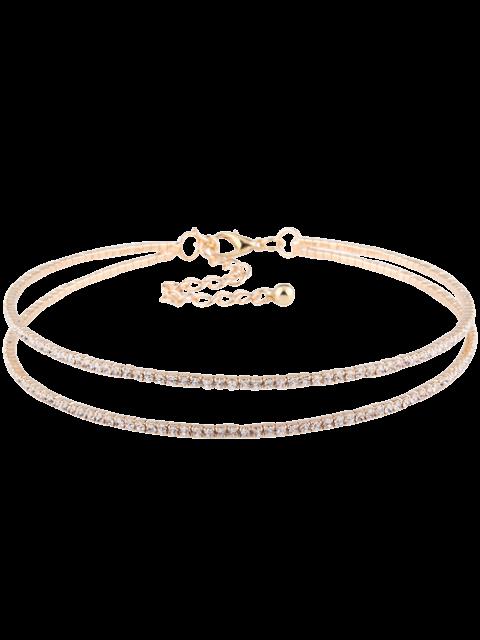 ladies Twins Circle Rhinestone Choker Necklace - GOLDEN  Mobile