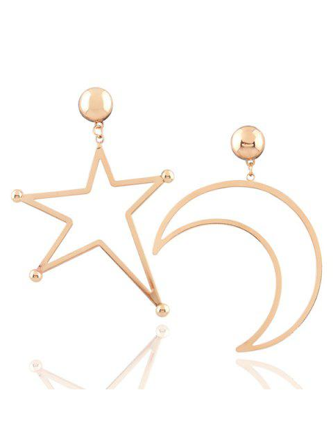 best Alloy Moon Star Earrings - GOLDEN  Mobile
