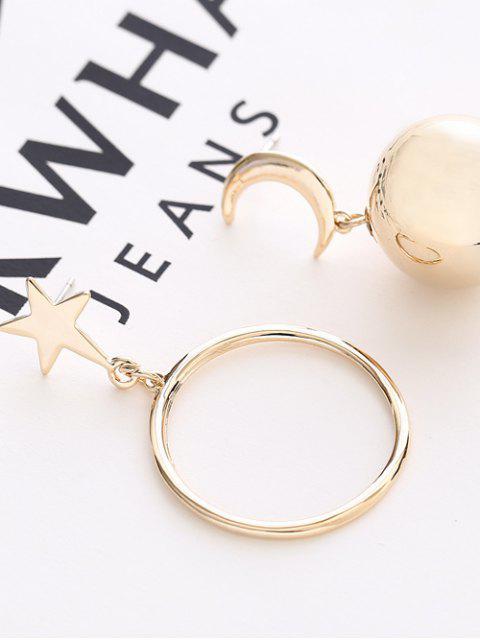 Boucles d'oreilles asymétriques: étoile et boucle, lune et boule - Or  Mobile