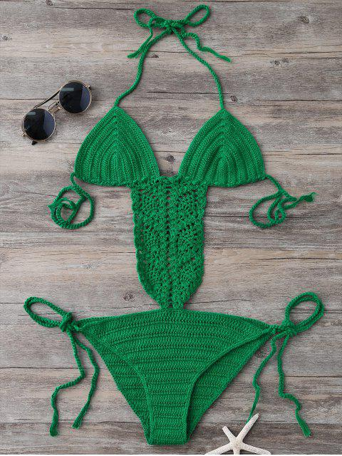 latest Tie Side Strappy Open Back Knitted Swimsuit - GREEN ONE SIZE Mobile