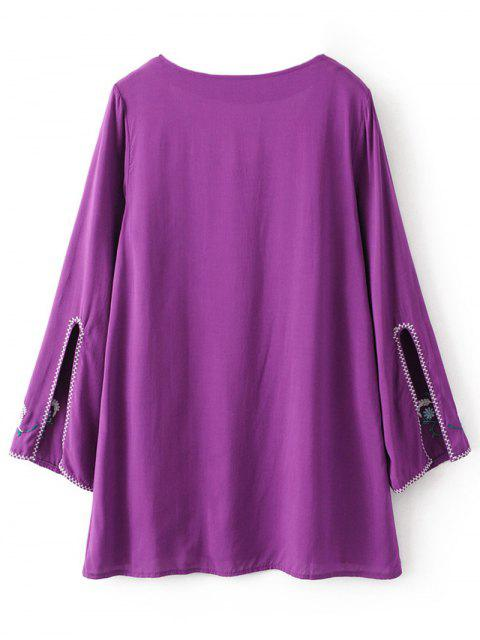 lady Long Sleeve Embroidered Mini Dress - PURPLE XL Mobile