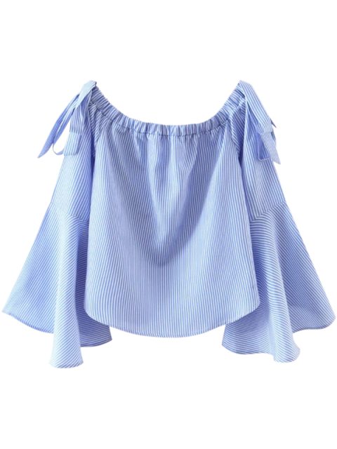 women Bell Sleeve Off The Shoulder Top - BLUE AND WHITE L Mobile