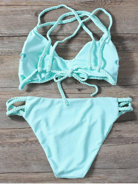 outfit Braided Crisscross Strap Bathing Suit - LIGHT GREEN L Mobile