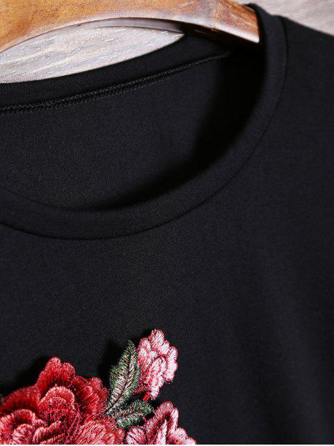 women's Floral Embroidered Patch Long Sleeve Tee - BLACK L Mobile