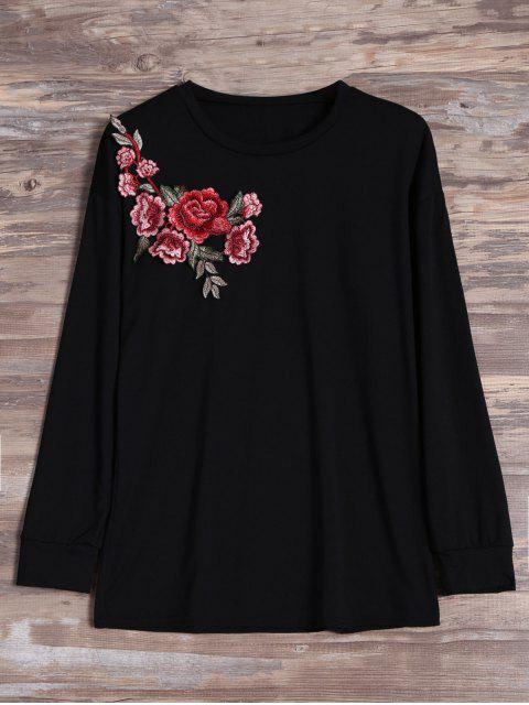 T-shirt à manches longues brodé floral - Noir S Mobile