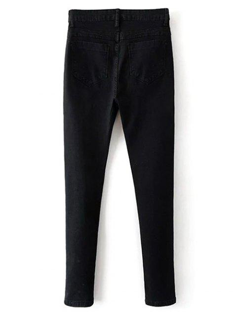 lady Stretchy Zip Fly Jeans - BLACK 2XL Mobile