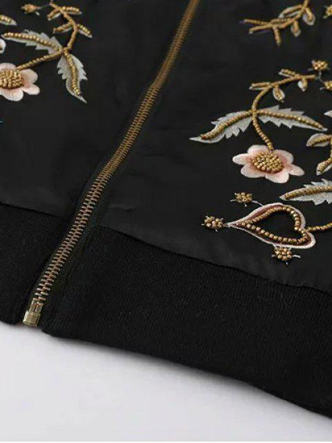chic Beaded Embroidered Bomber Jacket - BLACK M Mobile