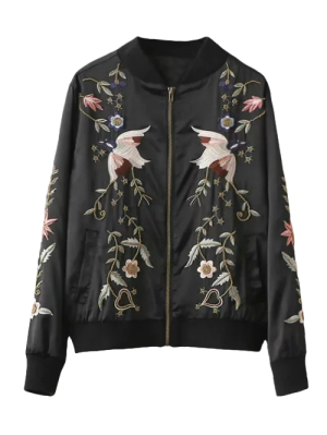 Beaded Embroidered Bomber Jacket - Black S