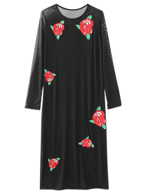 Long Sleeve Patched Midi Dress - Black S