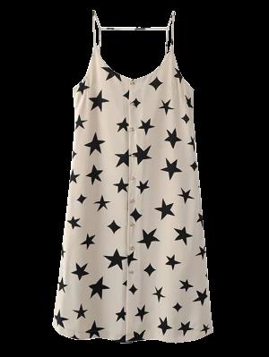 Button Up Star Print Slip Dress - Off-white L