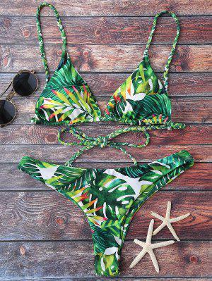 Tropical Print Plunge Bikini - Green Xl
