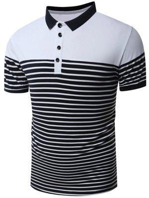 Stripe Short Sleeve Polo T-Shirt - Branco 2xl zaful
