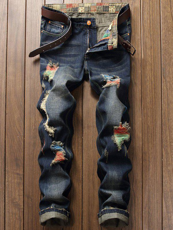 Zipper Fly Distressed Cuffed Jeans 209498102