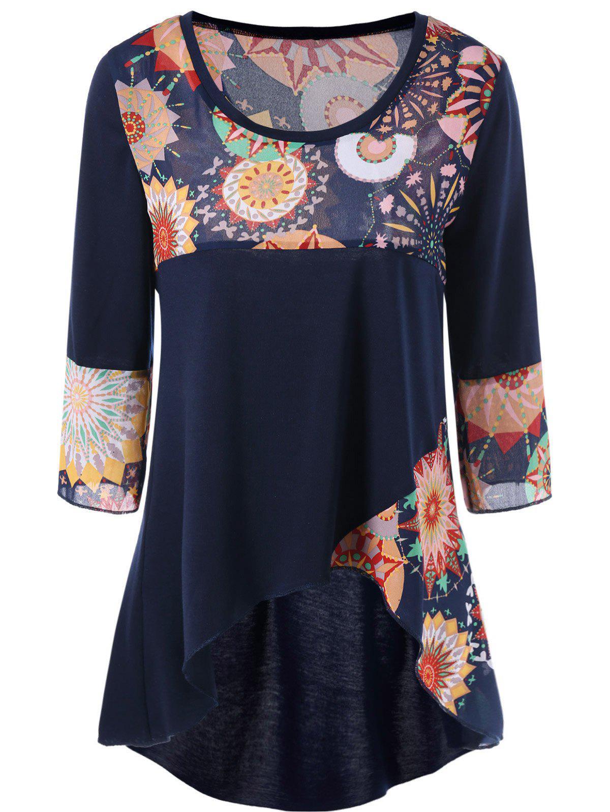 Plus Size Graphic Design High Low Hem T Shirt 208955112
