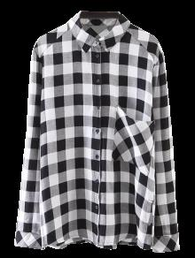 Pocket Checked Shirt - Black S