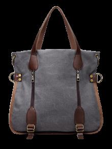الرمز عارضة تفاصيل قماش حمل حقيبة - رمادي
