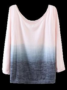 Ombre Boat Neck T-Shirt - Pink M