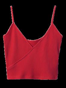 Ribbed Surplice Cropped Cami Tank Top - Wine Red