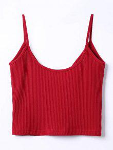350f29aa4b7 38% OFF  2019 Ribbed Surplice Cropped Cami Tank Top In WINE RED