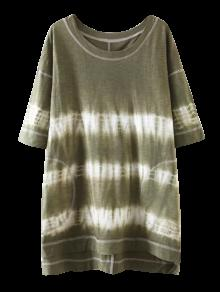 Robe T-shirt Haut Bas Tie Dye Rayée  - Vert Olive   S