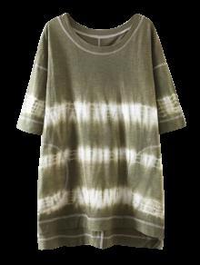 High Low Tie Dye Stripe T-Shirt Dress - Olive Green M
