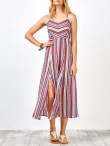 بوهيميا متقاطع عارية الذراعين فستان ماكسي - أحمر M