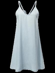 Slip Denim Dress - Light Blue M