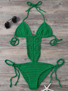 Tie Side Strappy Open Back Knitted Swimsuit - Green