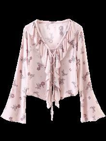 Impreso Atan Para Arriba La Blusa Con Volantes - Rosa S
