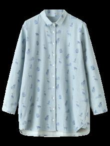 Cartoon Animal Print Denim Shirt - Light Blue