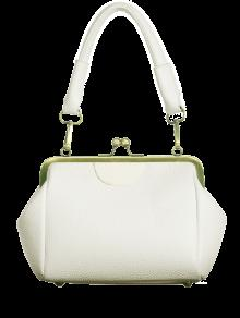تقبيل قفل معدني حقيبة يد المشذبة - أبيض