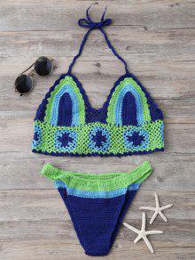 Bloque De Color Congregado Crochet Bikini Set - Azul