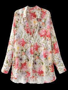 High Low Longline Floral Shirt - Floral S