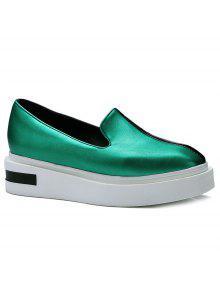 اللون كتلة فو منصة أحذية جلدية - أخضر 38