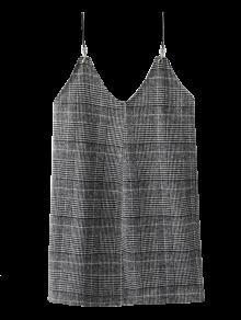 Checked Tweed Cami Dress - White And Black S