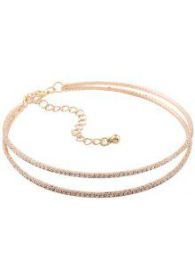 Twins Circle Rhinestone Choker Necklace - Golden