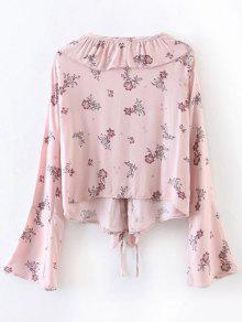 Blusa Para Con Volantes La Rosado Impreso Atan M Arriba Cw5Rf