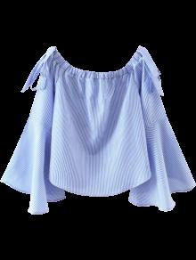 Bell Sleeve Off The Shoulder Top - Blue And White L
