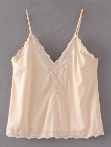 Lace Trim Cami Top - Nude M