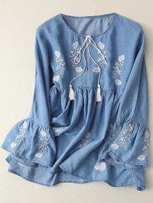 Bell Sleeve Embroidered Babydoll Top - Light Blue M