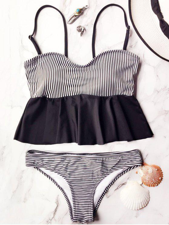 ladies Cami Striped Peplum Tankini - WHITE AND BLACK M