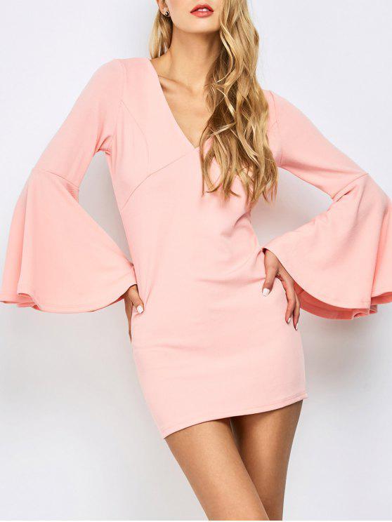 women Belled Sleeve Mini Bodycon Dress - ORANGEPINK L