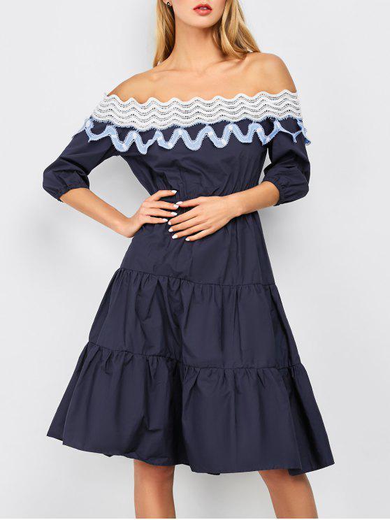 Fuera del hombro vestido con gradas Midi - Azul marino XL