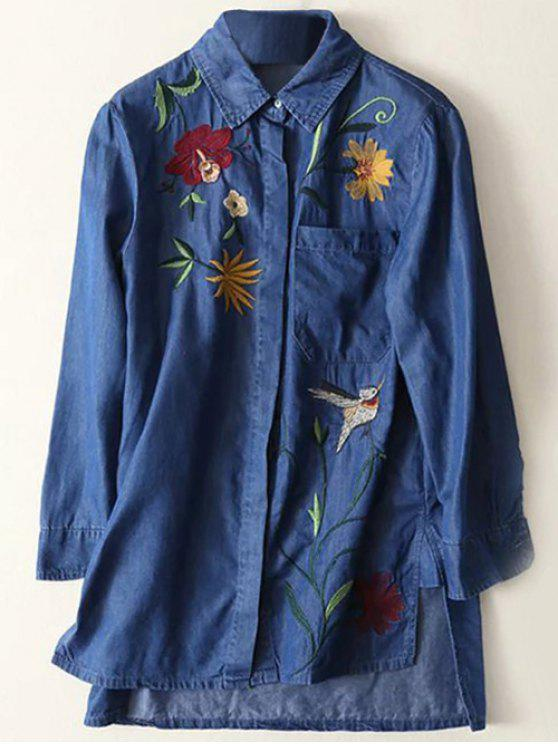 chic Floral Embroidered High Low Denim Shirt - BLUE L